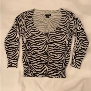 Womens Guess zebra cardigan M 3/4 sleeves